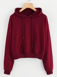 SheIn - Hooded Drawstring Kangaroo Pocket Sweatshirt