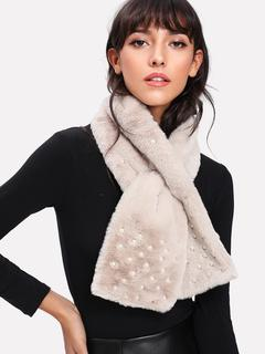 SheIn - Faux Pearl Decorated Tippet Scarf
