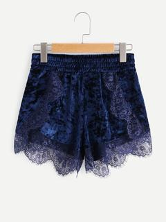 SheIn - Eyelash Lace Scalloped Trim Velvet Shorts