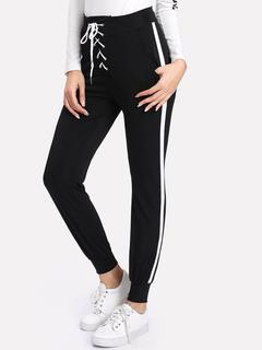 SheIn - Lace Up Waist Contrast Stripe Side Pants