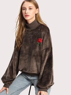 SheIn - Rose Applique Lantern Sleeve Fluffy Sweatshirt