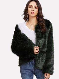 SheIn - Open Front Faux Fur Coat