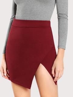 SheIn - Solid Overlap Bodycon Skirt