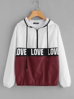 SheIn - Zip Front LOVE Print Windbreaker Hoodie Jacket
