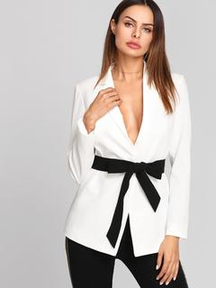 SheIn - Notch Collar Blazer With Contrast Belt