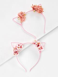 SheIn - Cat Ear Flower Decorated Headband 2pcs