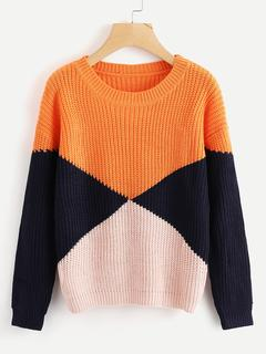 SheIn - Color Block Chunky Knit Sweater