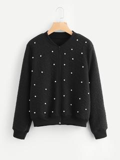 SheIn - Pearl Beading Geo Quilted Jacket