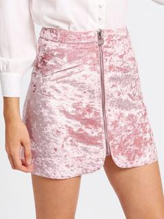 SheIn - Zip Up Crushed Velvet Skirt