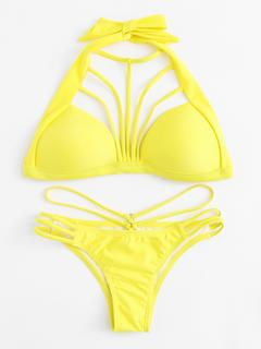 SheIn - Ladder Cut Out Harness Bikini Set