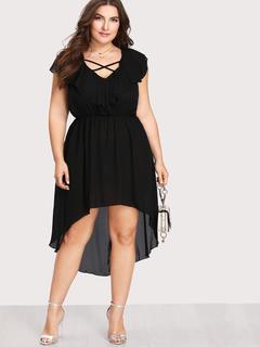 SheIn - V Neckline Criss Cross Dip Hem Dress