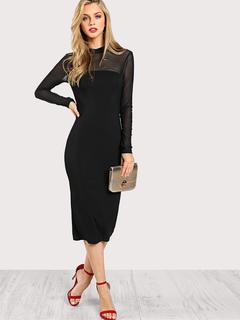 SheIn - Mesh Shoulder Form Fitting Dress