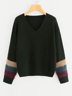 SheIn - Contrast Faux Fur Drop Shoulder Sweater
