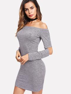 SheIn - Cutout Elbow Marled Knit Bardot Dress