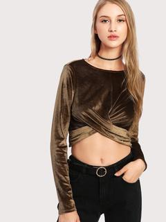 SheIn - Twist Detail Crop T-shirt