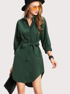 SheIn - High Low Curved Hem Shirt Dress