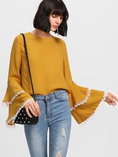 SheIn - Contrast Lace Trim Layered Sleeve Top