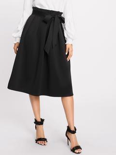 SheIn - Box Pleated Self Belted Skirt