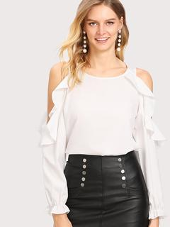 SheIn - Open Shoulder Frill Trim Blouse