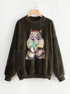 SheIn - Squirrel Print Side Zipper Velvet Sweatshirt