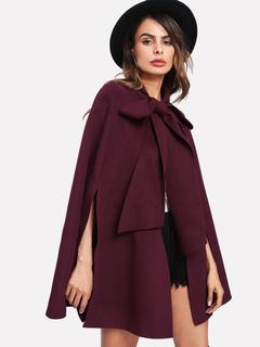SheIn - Slit Back Tied Front Cape Coat