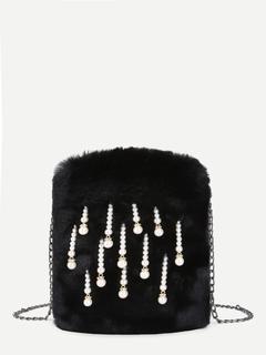 SheIn - Faux Pearl Decorated Faux Fur Chain Bag