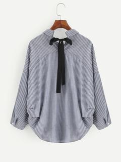 SheIn - Contrast Bow Tie Dolphin Hem Striped Blouse