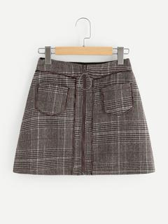 SheIn - Ring Zipper Up Plaid Skirt