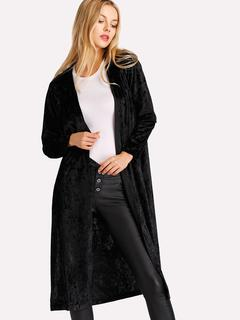SheIn - Crushed Velvet Slit Side Coat