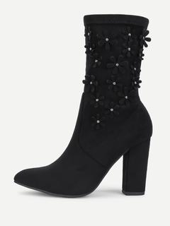 SheIn - Flower Decorated Block Heeled Suede Boots