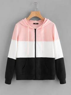 SheIn - Cut And Sew Hoodie Jacket