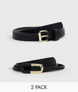 ASOS DESIGN - 2 pack skinny waist belt and jeans belt