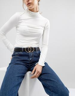 ASOS DESIGN - leather tipped jeans belt with shiny silver metal