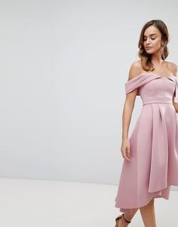 ASOS DESIGN - Midi-Ballkleid mit Carmenausschnitt, Schulterausschnitten und abfallender Schulterpartie-Rosa