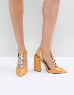 ASOS DESIGN - ASOS – PEACOCK – Verzierte High-Heels-Gelb
