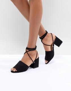 Public Desire - Paddington Black Tie Up Block Heeled Sandals