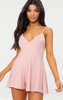PrettyLittleThing - Pink Crepe Strappy Wrap Playsuit, Pink