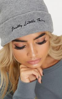 PrettyLittleThing - Light Grey Embroidered Beanie, Grey