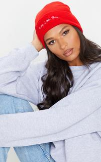 PrettyLittleThing - Red Embroidered Beanie, Red