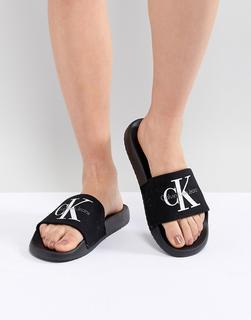 Calvin Klein - Chantal Black Canvas Sliders