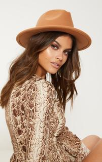 PrettyLittleThing - Tan Fedora Hat, Brown