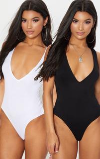 PrettyLittleThing - Basic Black & White 2 Pack Jersey Plunge Neck Thong Bodysuit, Black