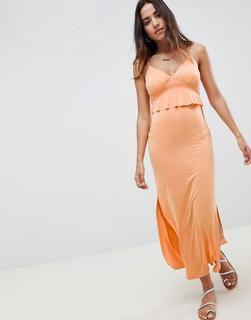 ASOS DESIGN - maxi sundress with ruffle waist in slinky