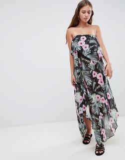 ASOS DESIGN - Trägerloses Maxi-Strandkleid mit fließendem Lagendesign und tropischem Print-Mehrfarbig