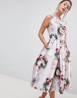 Chi Chi London - Midi Dress in Floral Print