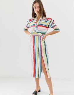 Vero Moda - Stripe Midi Dress With Side Splits