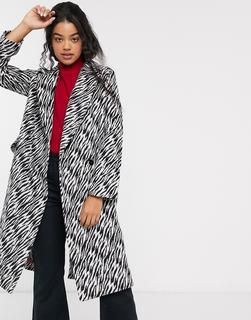 ASOS DESIGN - Mantel mit Animalmuster in Schwarz und Weiß-Mehrfarbig