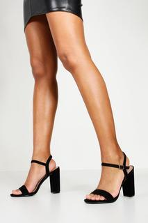 boohoo - Womens Block Heel Barely There Heels - black - 8, Black