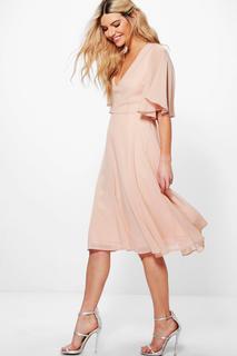 boohoo - Womens Chiffon Angel Sleeve Midi Skater Bridesmaid Dress - Pink - 12, Pink