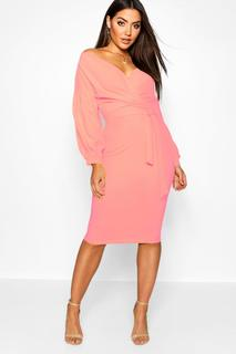 boohoo - Womens Off The Shoulder Wrap Midi Bodycon Dress - Pink - 8, Pink